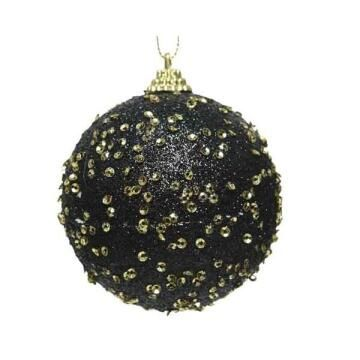 BAUBLE BLACK WITH BEADS 8CM