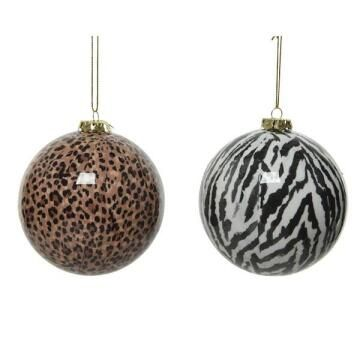 2PC BAUBLE ANIMAL PRINT 8CM