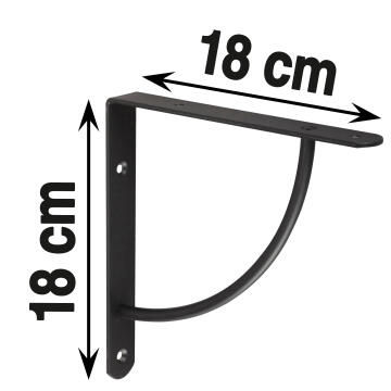 BRACKET 180X180X25MM STEEL 3MM BLACK