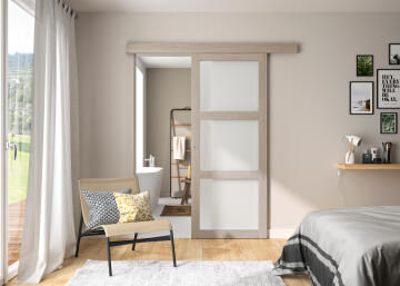 Interior Sliding Door kit with sliding mechanism MDF Hollow Core Verone with Glass Panels Taupe Grey Oak-w830xh2040mm