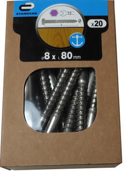 20P WOODSCREW HEXAGON, S.STEEL A4, 8X80, C. BOX