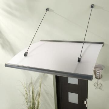 Awning Rubin ARTENS -Polycarbonate Clear with White Aluminium Brackets-w1580xd950mm