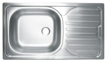 Kitchen sink 1 bowl 1 drainer stainless steel drop in 770 x 440 x 150mm