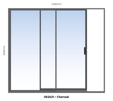 Sliding Door Aluminium 1 Side Opening (OX) Charcoal-w2390xh2090mm