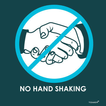 No hand shaking covid-sign 190x190mm tower