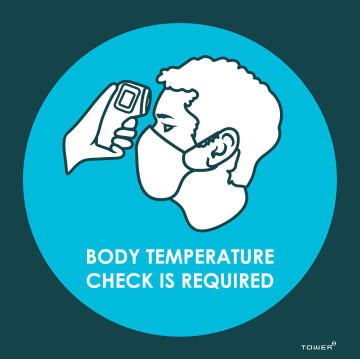 Body temperature check covid-sign 190x190mm tower