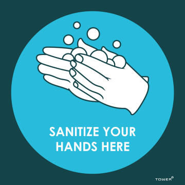 Sanitize hands here covid-sign 150x150mm tower