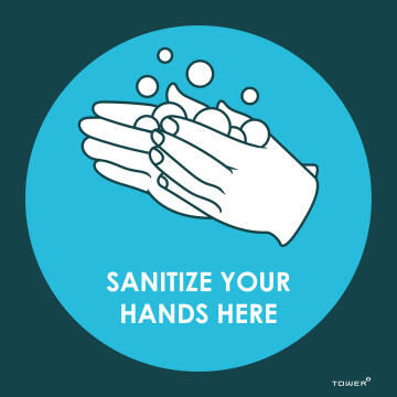 Sanitize hands your here covid-sign 190x190mm tower