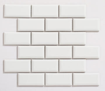 Mosaic Tile Subway Bevel White Gloss Finish 288x294mm