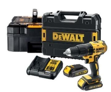 Cordless impact drill DEWALT DCD778S2 18v + accessories, 2 x 1.5v batteries and charger, 2 x TSTAK cases