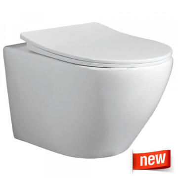 Solo Wall hung toilet Bali, Rimless design, including soft close toilet seat