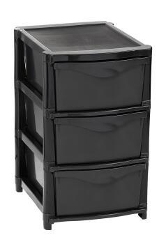 3 drawer unit black