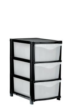 3 drawer unit - black and clear