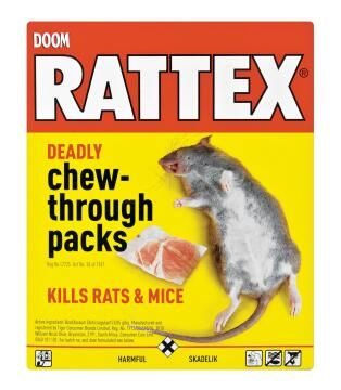 Insect killer DOOM rattex deadly chew pack 4x25g