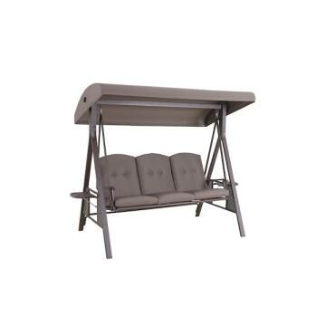 Swing Steel 3 Seat Cushioned Chair Brown