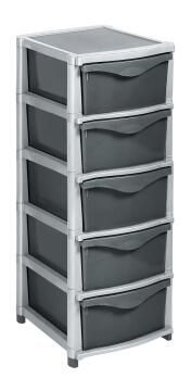 5 drawer unit-silver and charcoal