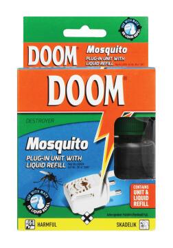 Insect repellent DOOM plug-in unit & liquid refill 86g/35ml
