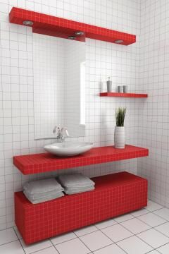 Mosaic Glass Tile Red 300x300mm