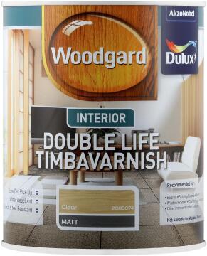 Wood varnish clear DULUX WOODGARD INTERIOR DOUBLE LIFE TIMBAVARNISH Matt 1L
