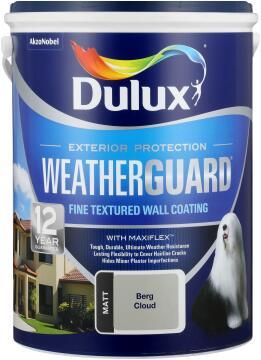 Paint exterior fine textured DULUX WEATHERGUARD Berg Cloud 5L,