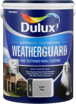 Paint exterior fine textured DULUX WEATHERGUARD Cape Fog 5L,