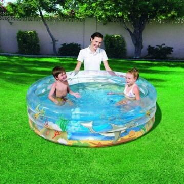 Pool Inflatable, Pvc, Diameter Dia1.50Mxh53Cm - Safety Valves, Sturdy Pre-Tested Vinyl, 3 Equal Rings, Blue