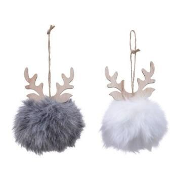 2PC BAUBLE FLUFFY DEER