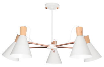 Chandelier metal and wood BRIGHT STAR CH253/5 white and copper 5 light E27 60W