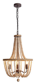 Chandelier wood bead BRIGHT STAR CH894/3 natural brown 3 light E14 11W