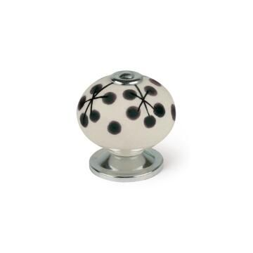 Cabinet knob porcelain white and black flower shape 40mm rei