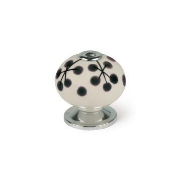 Cabinet knob porcelain white and black flower shape 40mm rei
