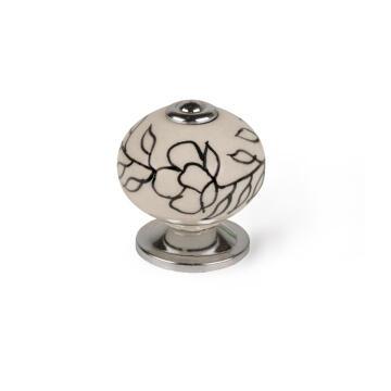 Cabinet knob porcelain black flower shape 40mm rei