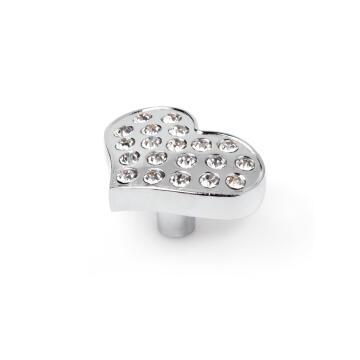 Cabinet knob chrome crystal heart shape 36x27mm rei