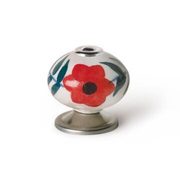 Cabinet knob porcelain red flower shape 40mm rei