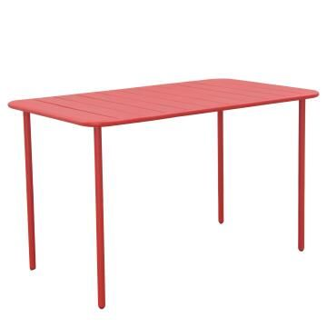 Dining table cafe cherry red steel 70cm x 120cm