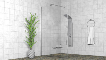 Frameless walk in shower screen 1.2m x 2m x 6mm, with stabilizer bar