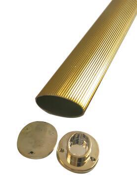 Cupboard rail oval w/ends gold D1.9 x L166cm