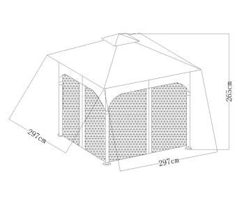 STEEL FRAME FOR GAZEBO 3 M X 3 M X 2.7M GREY
