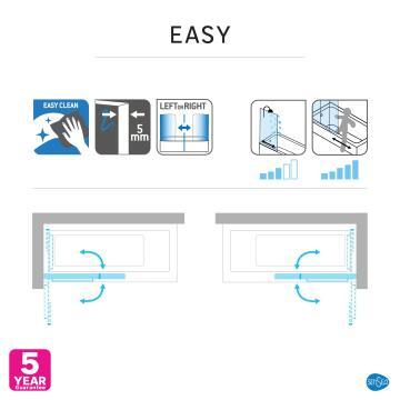 Bathscreen 140cm x 68cm+39cm Easy Sensea with Chrome Profiles and Clear Glass