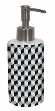 BLACK &WHITE HEXAGON CERAMIC SOAP DISP