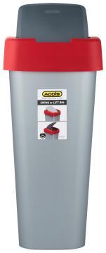 ADDIS SWING OR LIFT BIN SLIVER & RED 50L