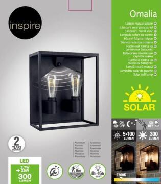 Wall light solar LED INSPIRE Omalia PIR 100° black