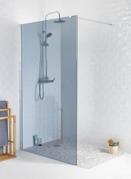Shower walk in Remix brushed nickel profile with 8mm smoked glass 120x200cm (includes stabilising arm)