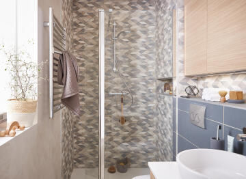 Shower deflector Remix chrome with 8mm clear glass 40x200cm