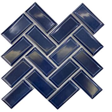 Mosaic Porcelain Metro Dark Blue Chevron ARTENS 30x30cm