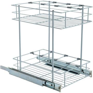 Kitchen sliding wire basket 2 levels grey 40cm